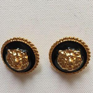 Vintage Anne Klein Pierced Earrings Lion Head